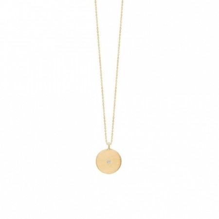 Rough Diamond Coin Necklace Gold